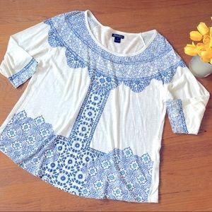 Lucky Brand Women's Blue Cotton Tee 1X